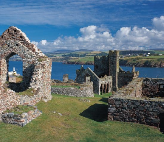 Peel Castle remains and distant view