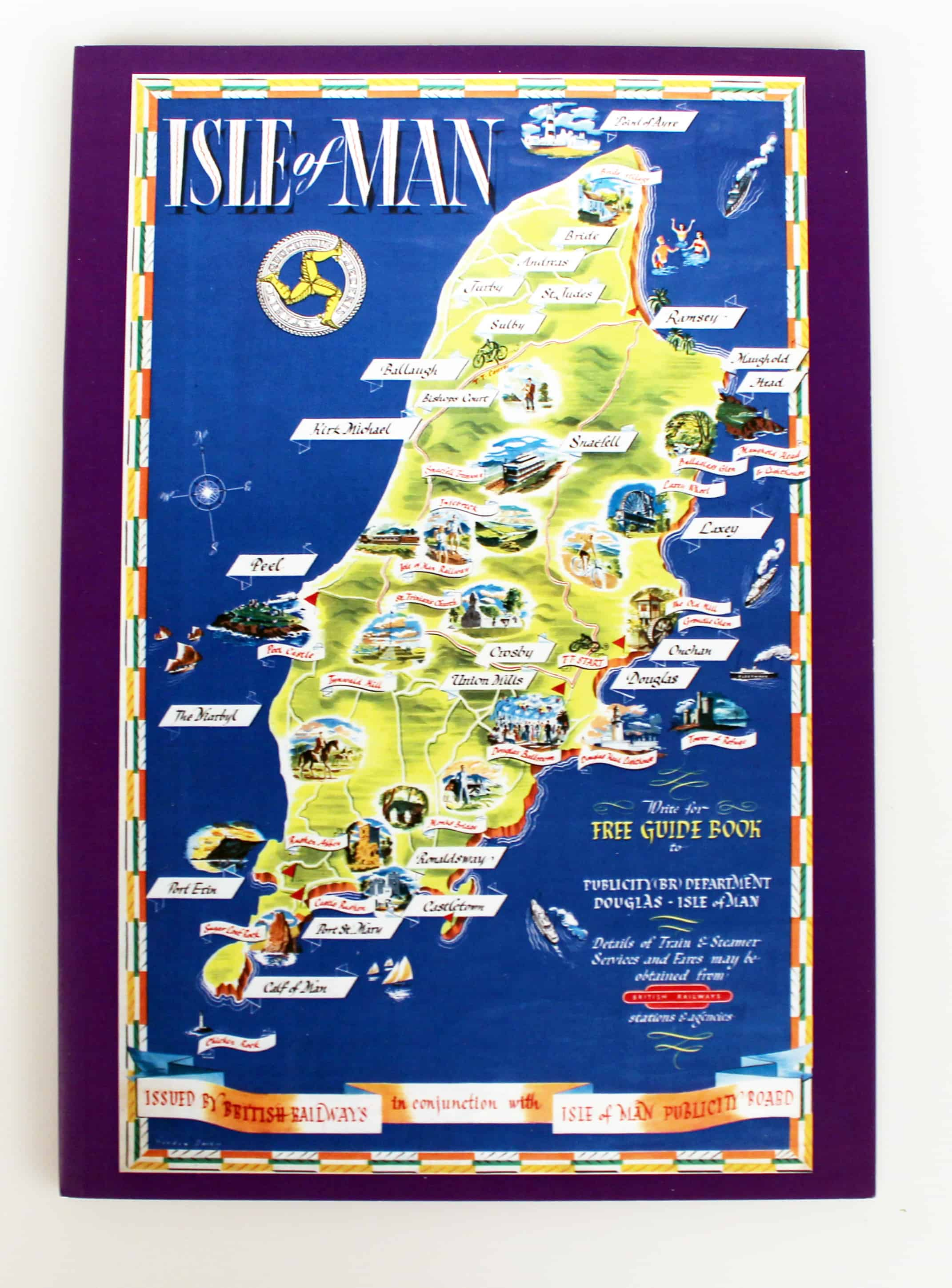 Isle of Man Map Holiday Poster Exercise Book Manx National Heritage