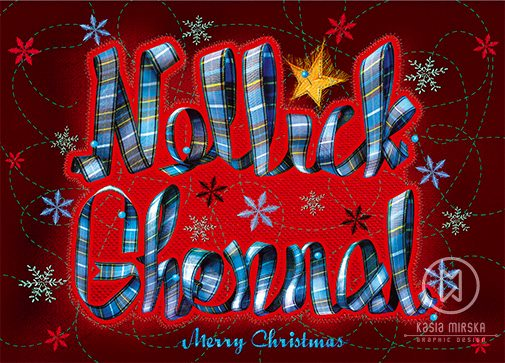 Red Nollick Ghennal Christmas Card by Kasia Mirska