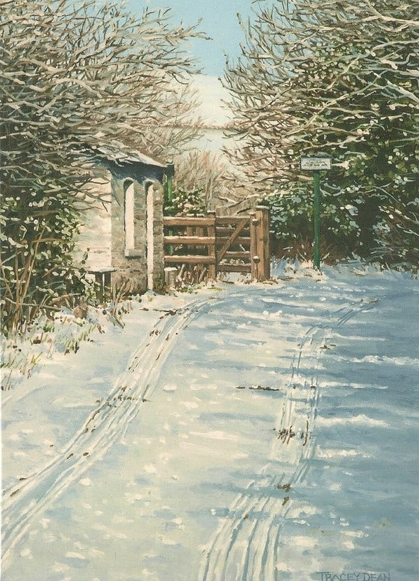 'Snow at the Crossing' Greeting Card by Tracey Harding Image copyright Tracey Harding