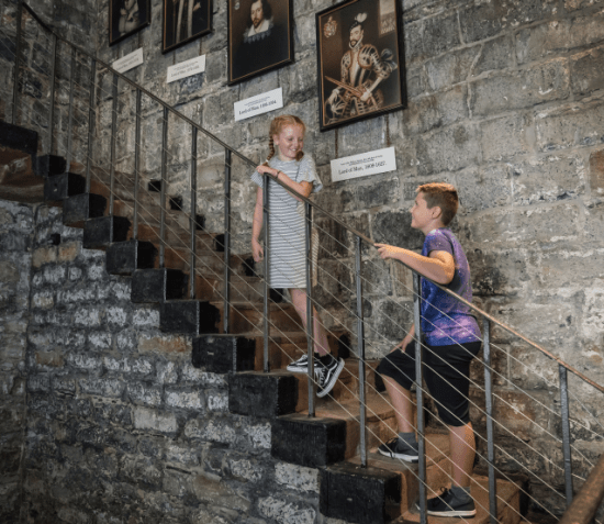 Children on Castle Rushen Stairs