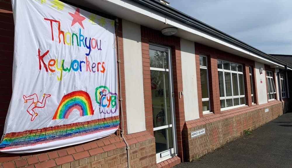Cronk y Berry School message of support to key workers.