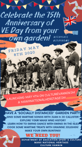 Commemorative VE Day poster promoting a socially distanced Garden Party Island wide.