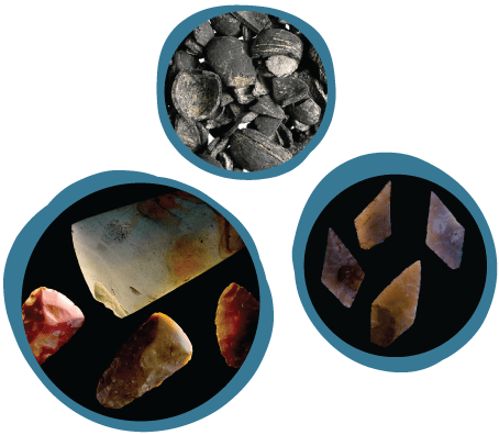 Images of flints and axe heads