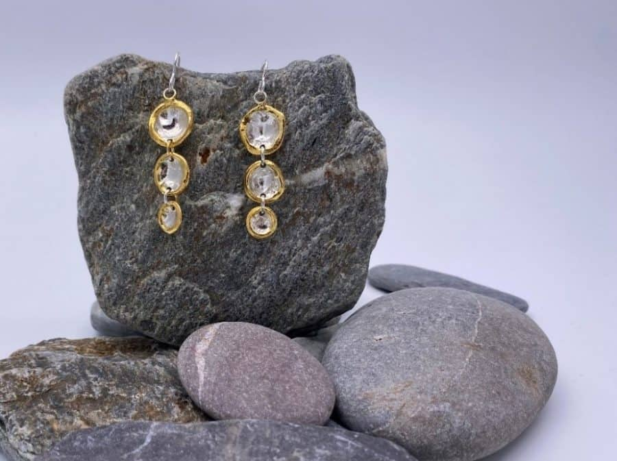 ELEMENTIsle Gold Edge Triple Droplet Earrings