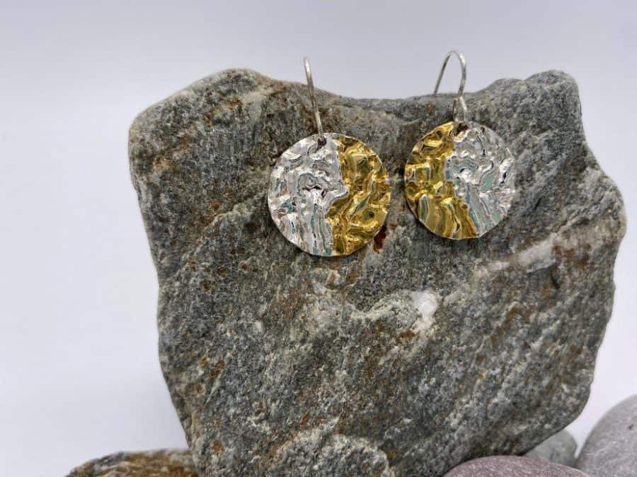 ELEMENTIsle Silver and Gold Ripple Drop Earrings