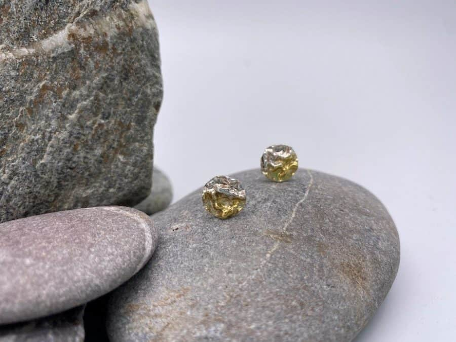 ELEMENTIsle Gold and Silver Ripple Stud Earrings