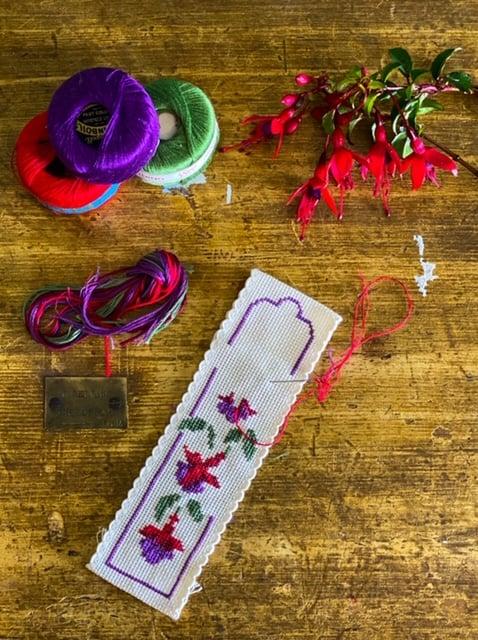 Cross Stitch Workshop Fuchsia Bookmark