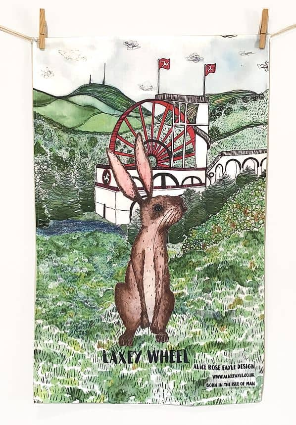 Laxey Wheel Tea Towel by Alice Rose Fayle Design