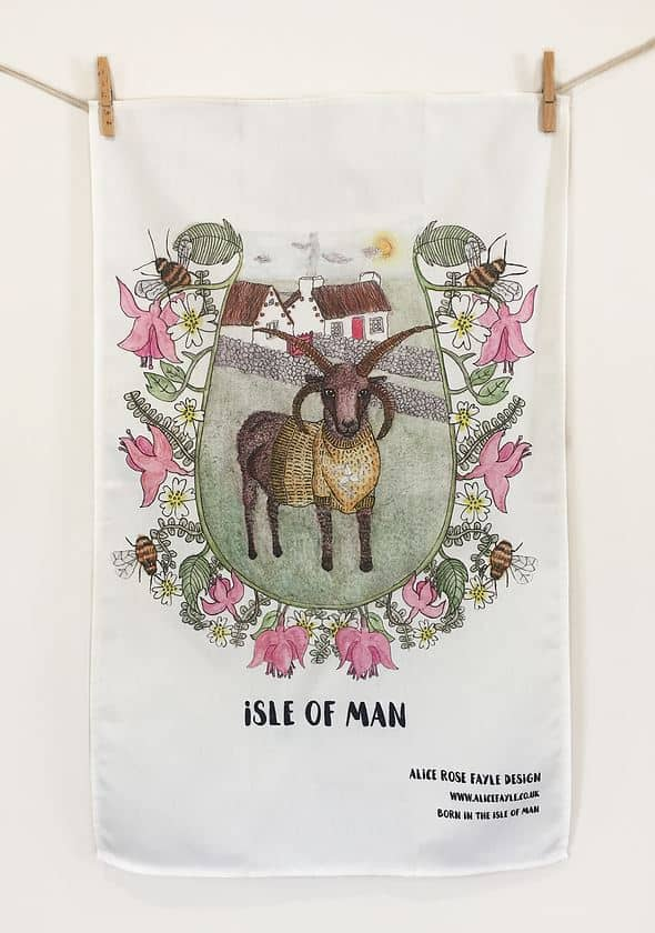 Loghtan Ram Tea Towel by Alice Rose Fayle Design