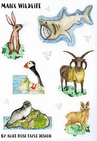 Manx Animal Stickers by Alice Rose Fayle Design
