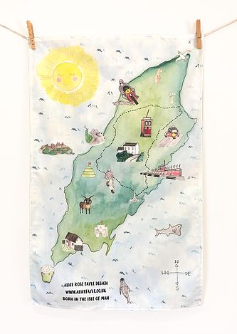 Isle of Man Map Tea Towel by Alice Rose Fayle Design