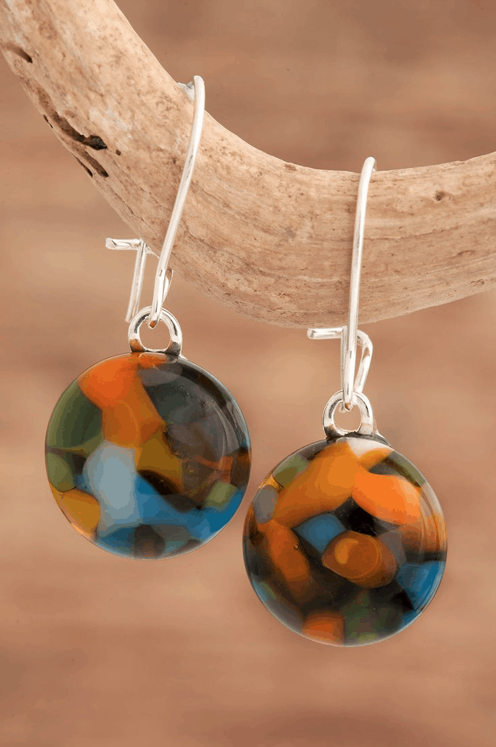 Manx Hunting Tartan Drop Earrings