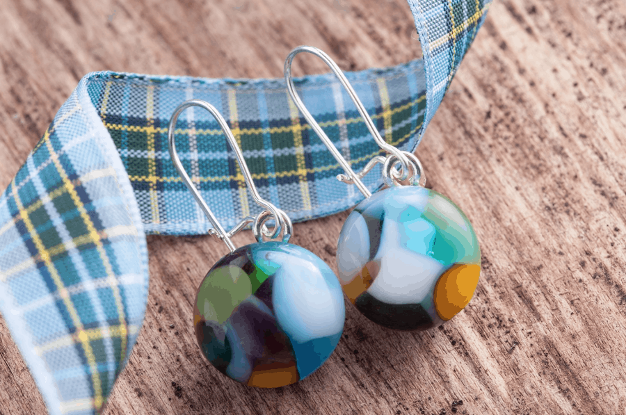 Manx Tartan Drop Earrings