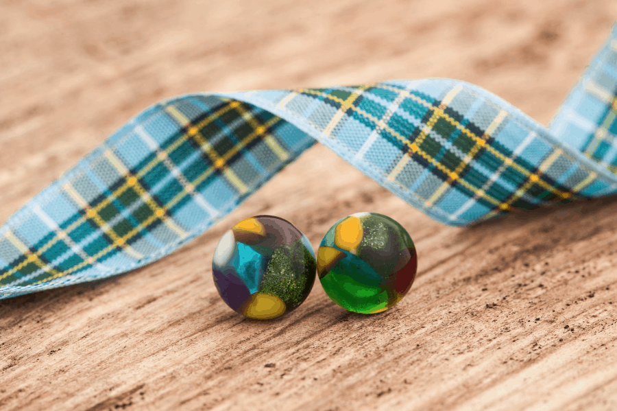 Manx Tartan Stud Earrings