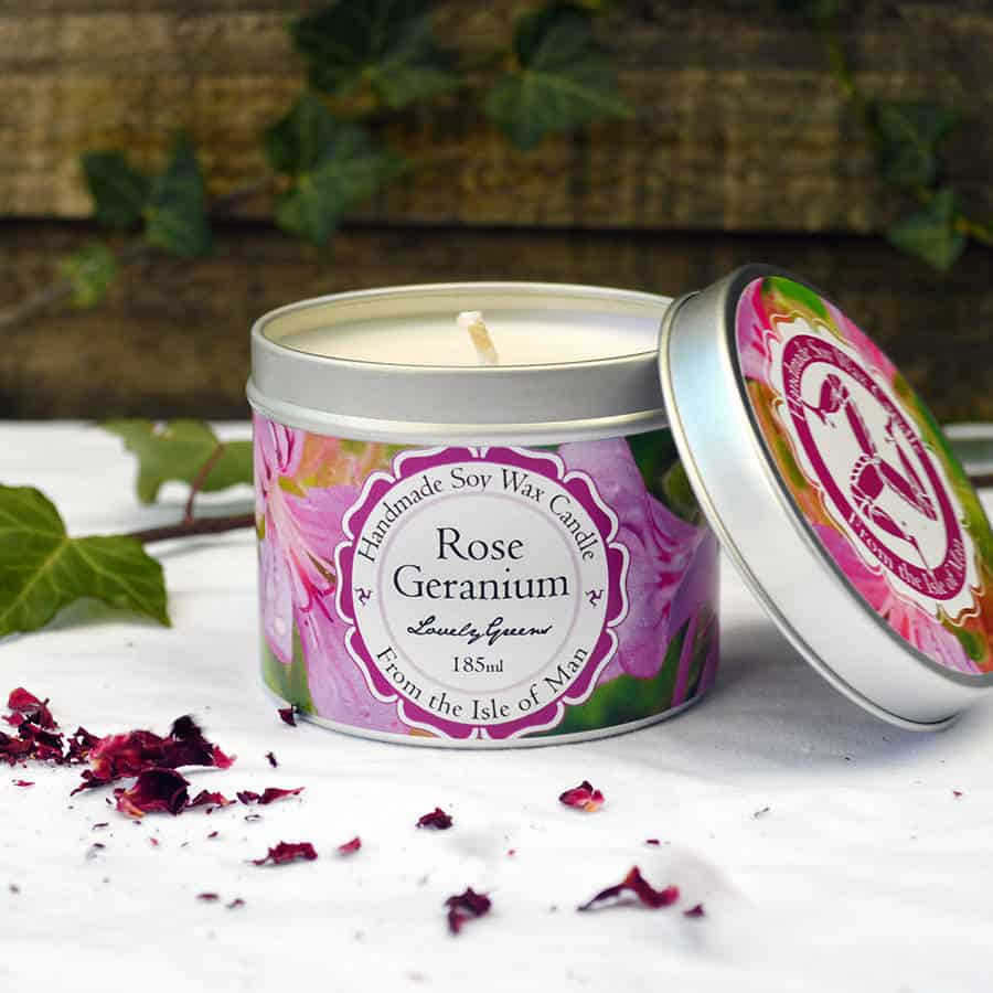 Lovely Greens Rose Geranium Candle