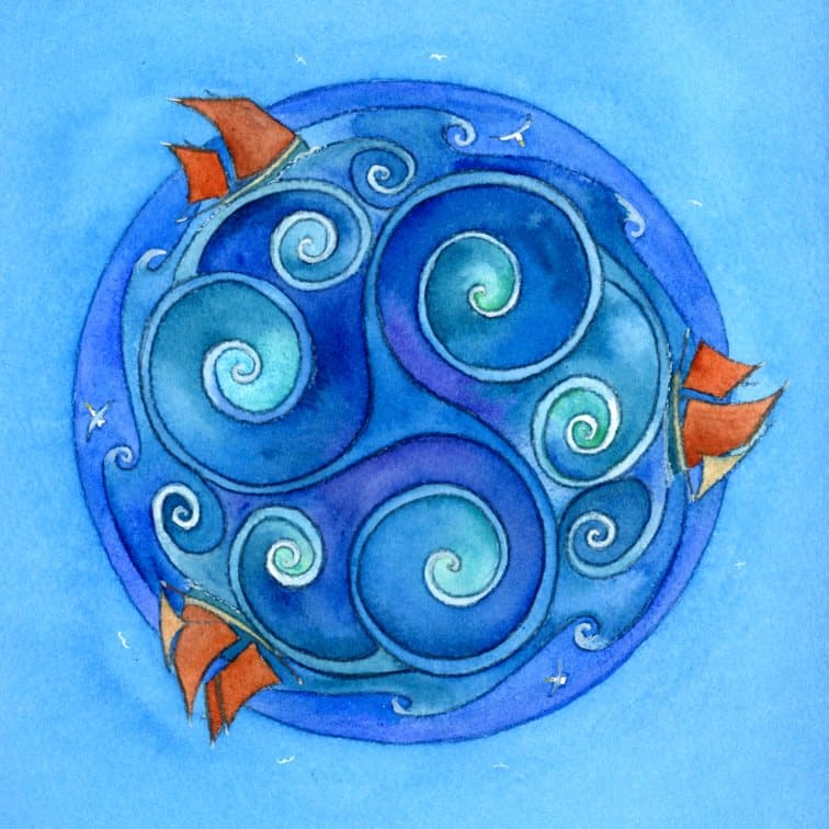 'Sea Spirals' Limited Edition Print by Nicola Dixon