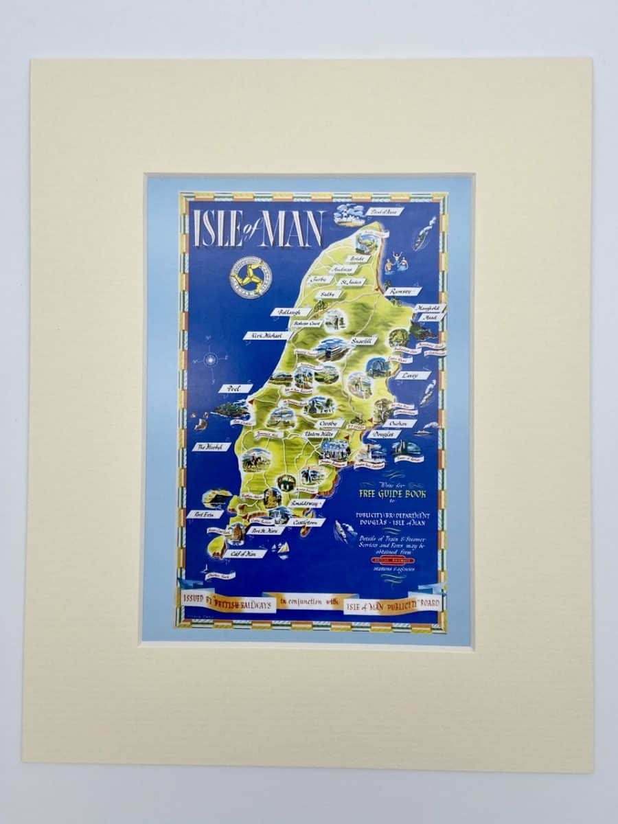 Isle of Man Map Tourist Poster Print