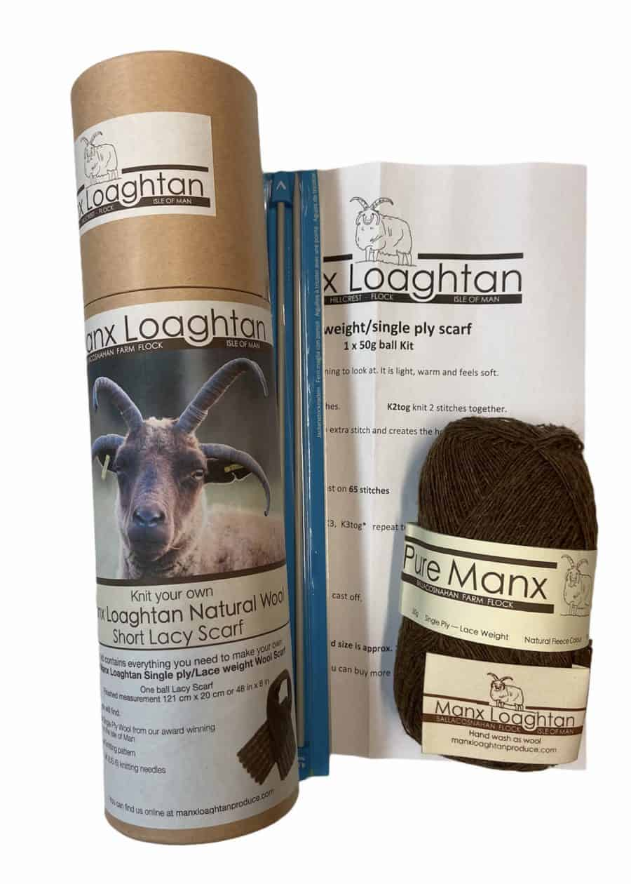 Knit your own Manx Loghtan Short Lacy Scarf Kit