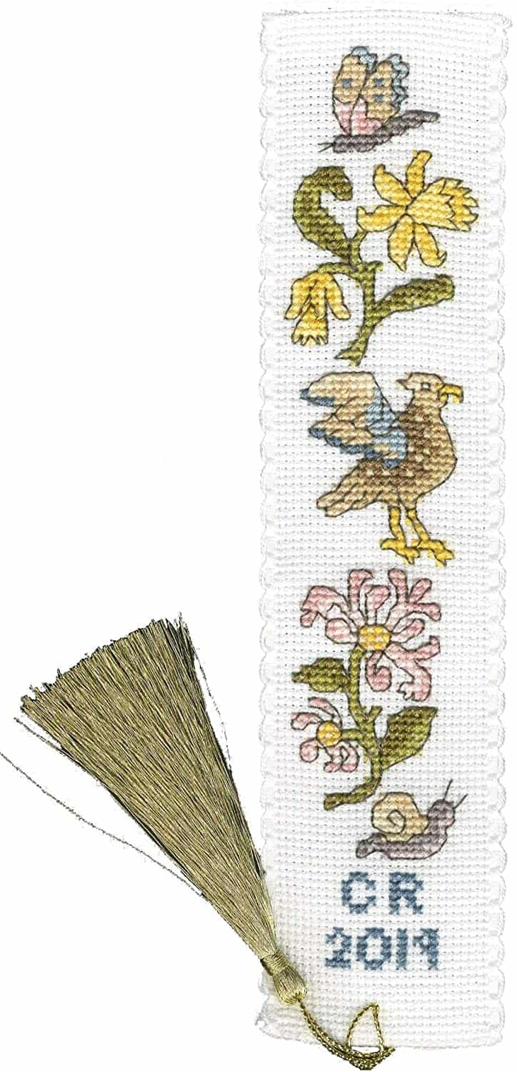 Daffodil And Honeysuckle Cross Stitch Bookmark