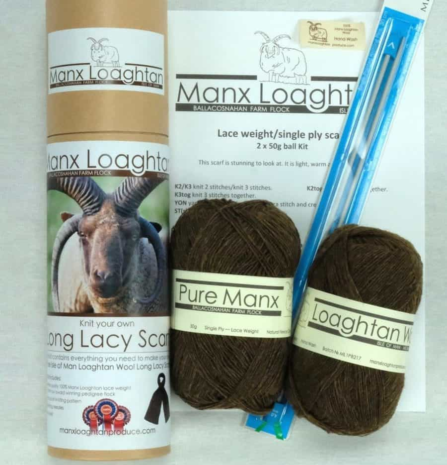 Knit your own Manx Loghtan Lacy Scarf Kit