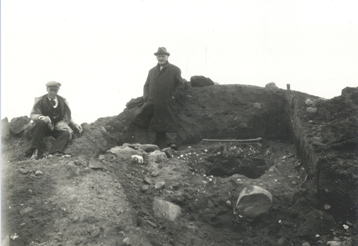 Manx Museum director PMC Kermode and landowner James Martin pictured at the excavation at Knock y Dooney in September 1927