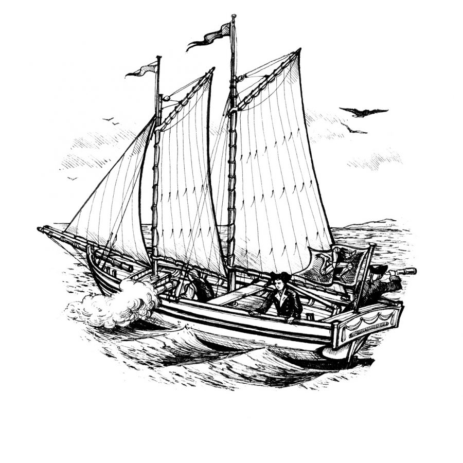 Black and white line drawing impression of the Peggy yacht, sails up choppy sea