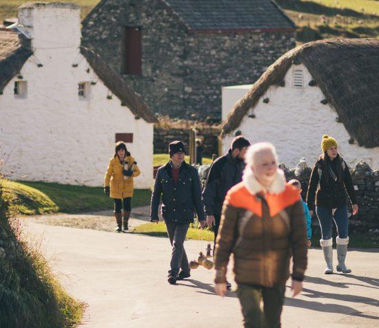 People walking through Cregneash