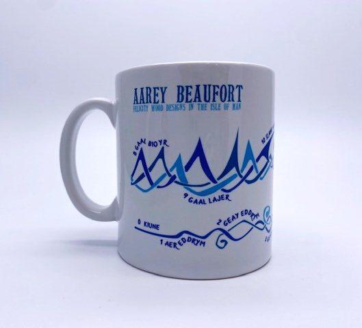 White mug with blue wave design and manx language