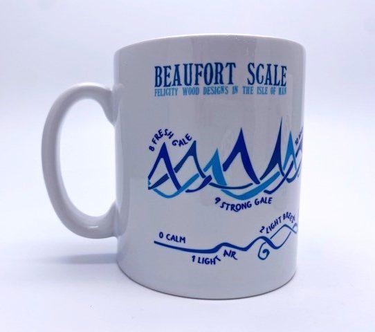 White mug with blue wave design