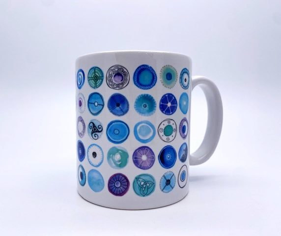 White Mug with Blue Circles