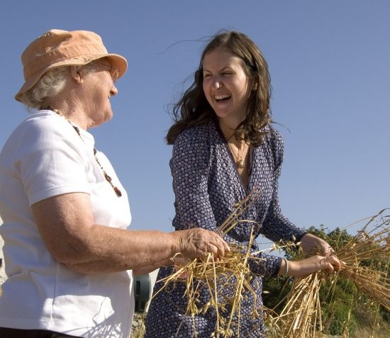 An older lady wearing a hat and a younger lady wearing wartime period flowery dress are tying wheat stooks.. The sky is blue and there is a white thatched cottage in the background.
