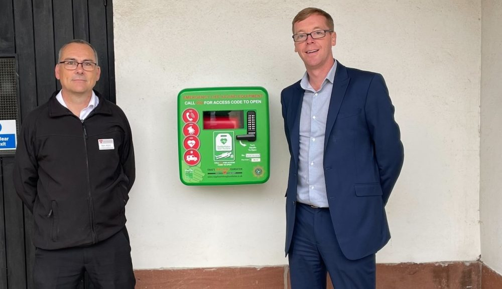 Steve Jackson and Pau Healey pictured with the new lifesaving defibrillator outside the House of Manannan